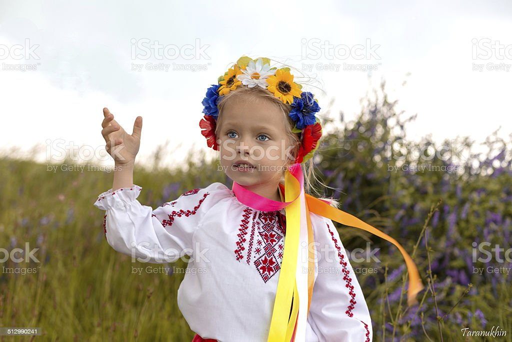 Ukrainian girl with flowers in her hair stock photo
