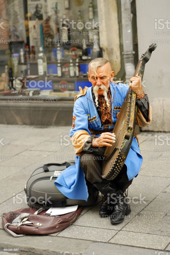 Ukrainian gusla player stock photo