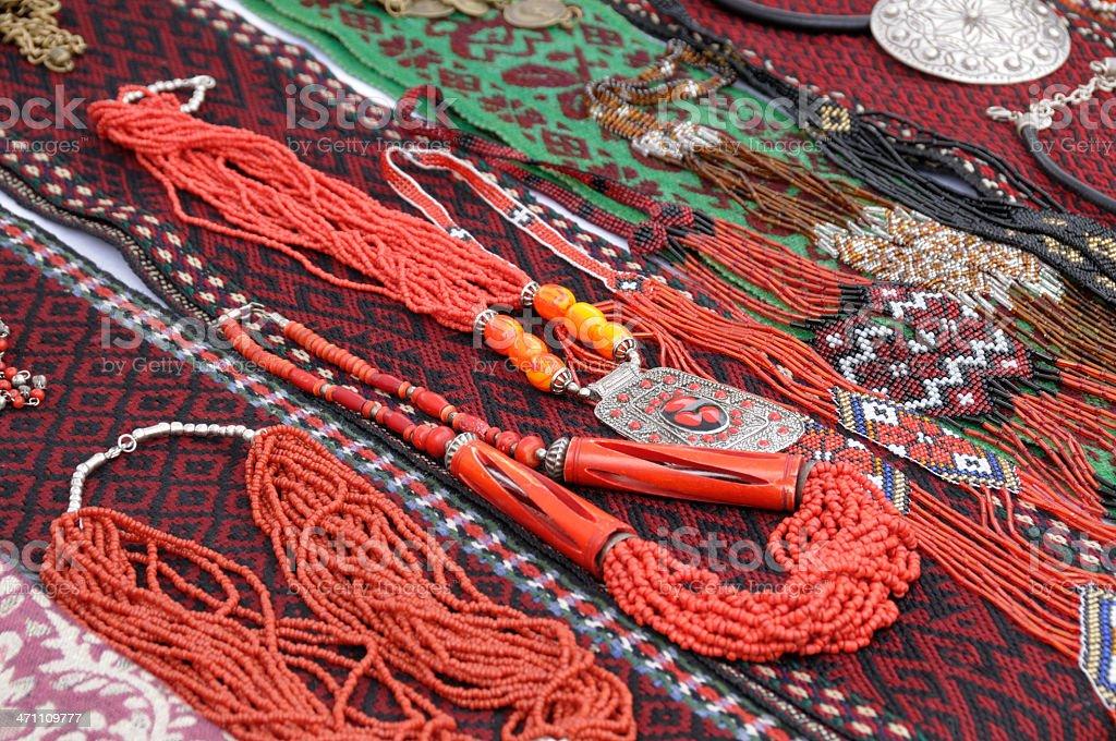 Ukrainian Jewelry and textile royalty-free stock photo
