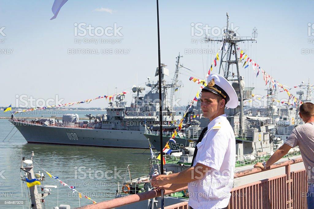 Odesa, Ukraine - July 03, 2016: Ukrainian marine officer in stock photo