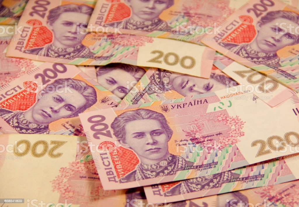 Ukrainian money. Background of the two hundred hryvnia banknotes royalty-free stock photo