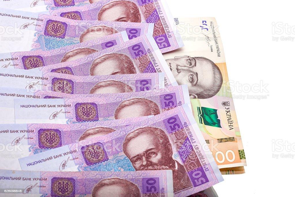 Ukrainian money face value 50 and 500 UAH. stock photo