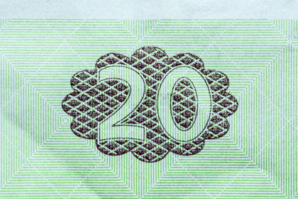 ukrainian national currency, twenty hryvnia close-up - watermark stock photos and pictures