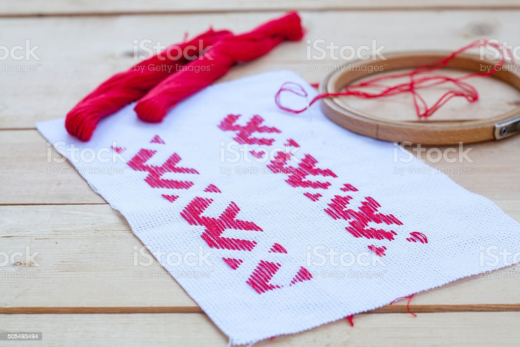 Ukrainian national red embroidery thread, selective focus royalty-free stock photo