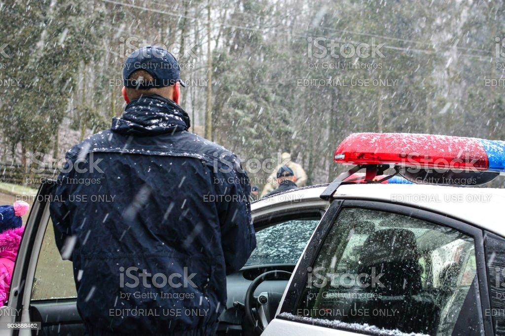 Ukrainian Patrol Police celebrate Christmas with children stock photo