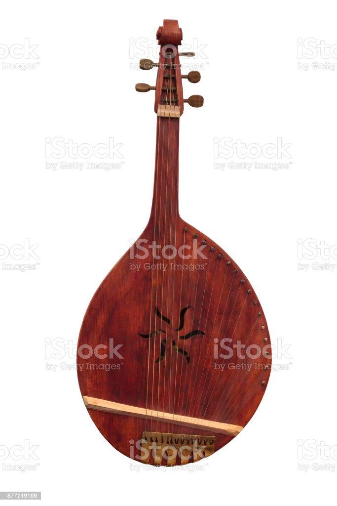 Ukrainian people's instrument bandura isolated on a white background стоковое фото