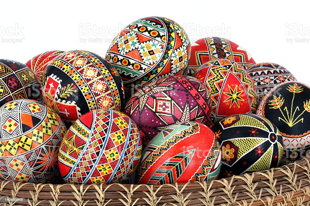 ukrainian pysanky close up stock photo