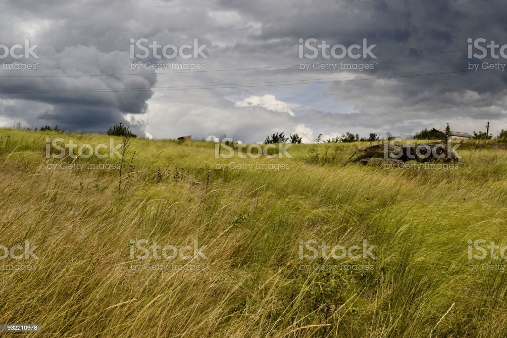 Ukrainian steppe and stunning cloudscape stock photo