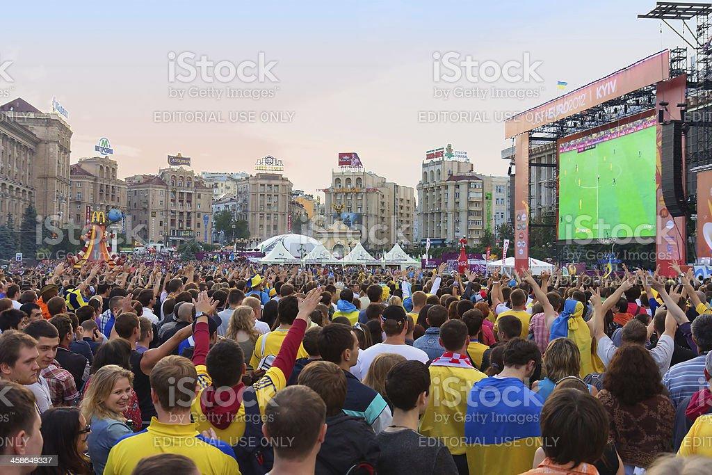 Ukrainian, Swedish and English fans in the fanzone Euro 2012 stock photo