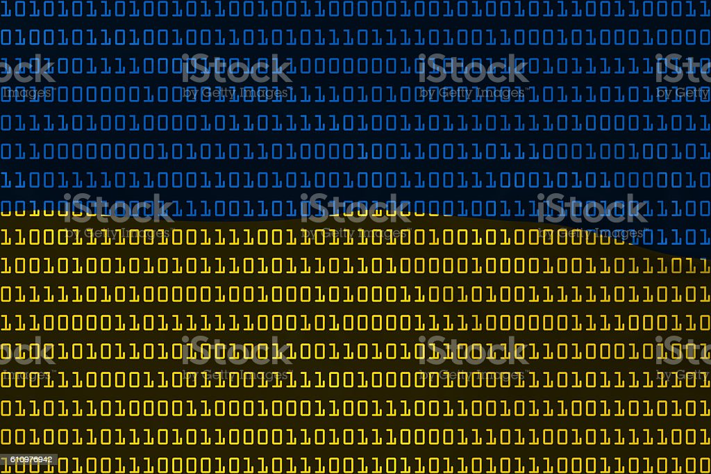 Ukrainian Technology Concept - Flag of Ukraine in Binary Code stock photo