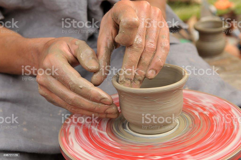 Ukrainian traditional handmade ceramic pots stock photo