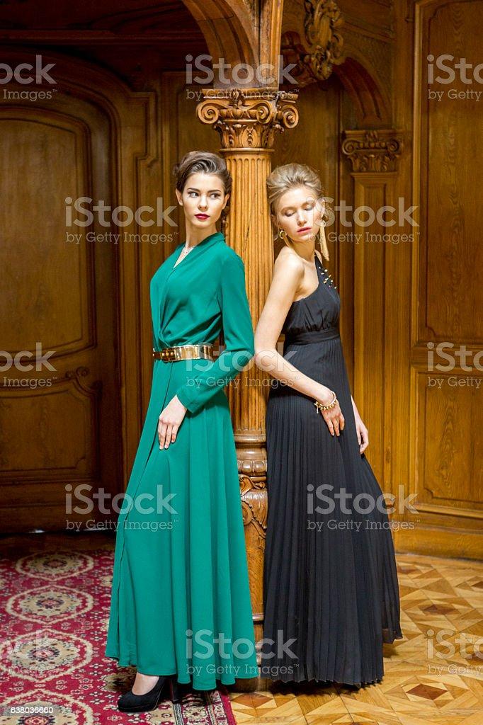Ukranian female models posing at historical building in  lviv ukraine stock photo