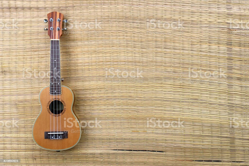 Ukulele and toys on the mat stock photo