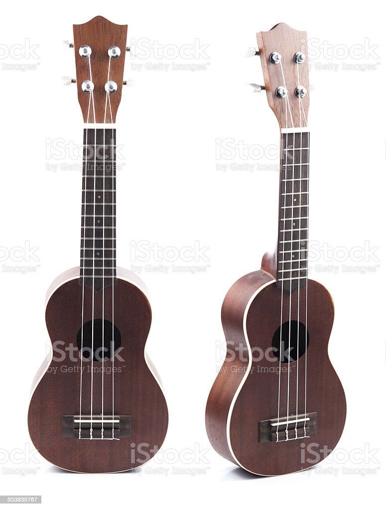 Ukulele hawaiian guitar isolated on white background stock photo