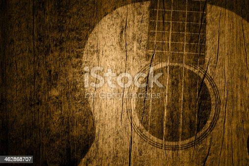 istock Ukulele in wood texture background 462868707