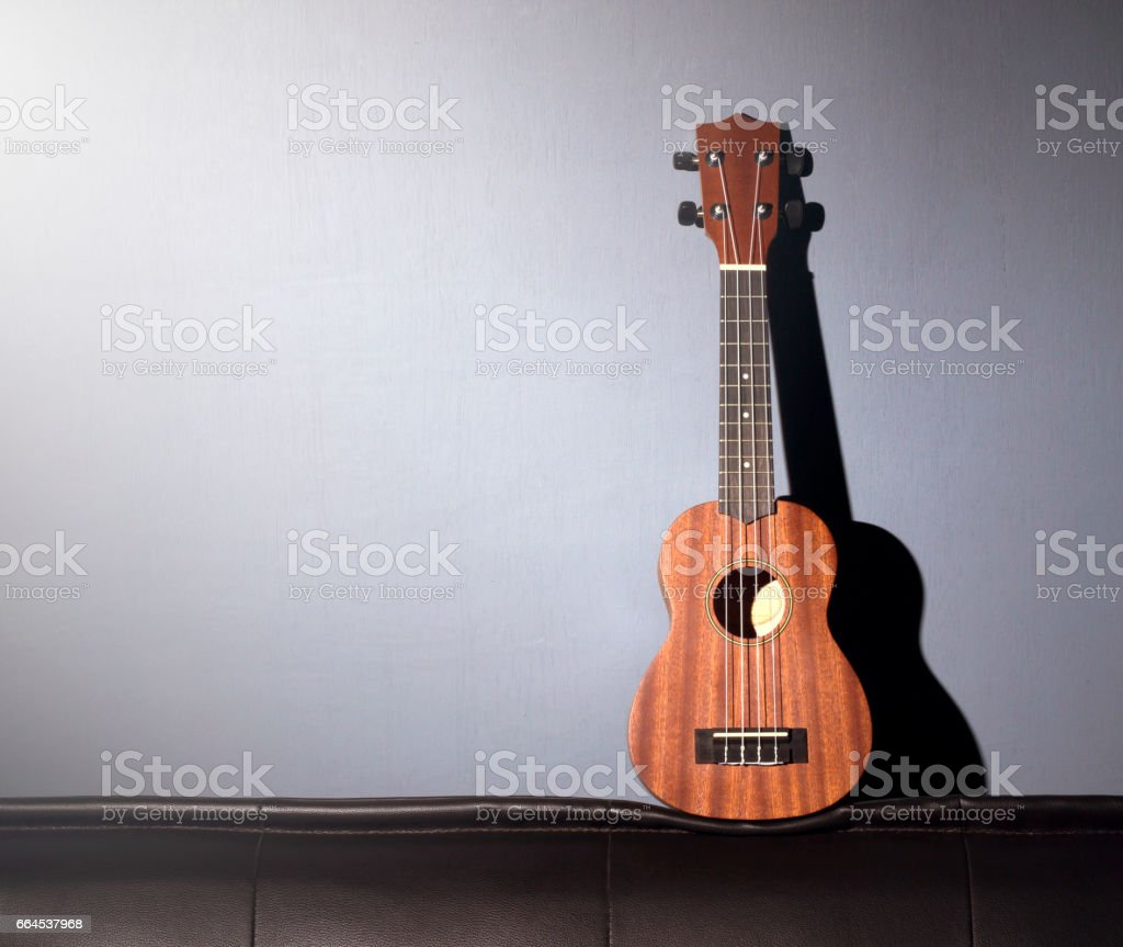 Ukulele on Gray Background. royalty-free stock photo