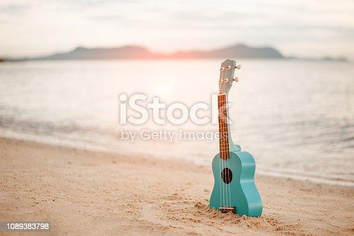 istock Ukulele on the beautiful beach in Hawaii 1089383798