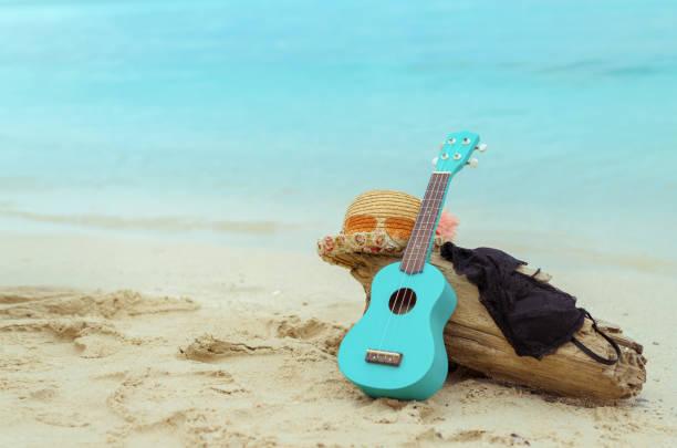 ukulele, hut, bikini kleid am strand von hawaii auf sommer saison frauen lifestyle im urlaub - ukulele songs stock-fotos und bilder