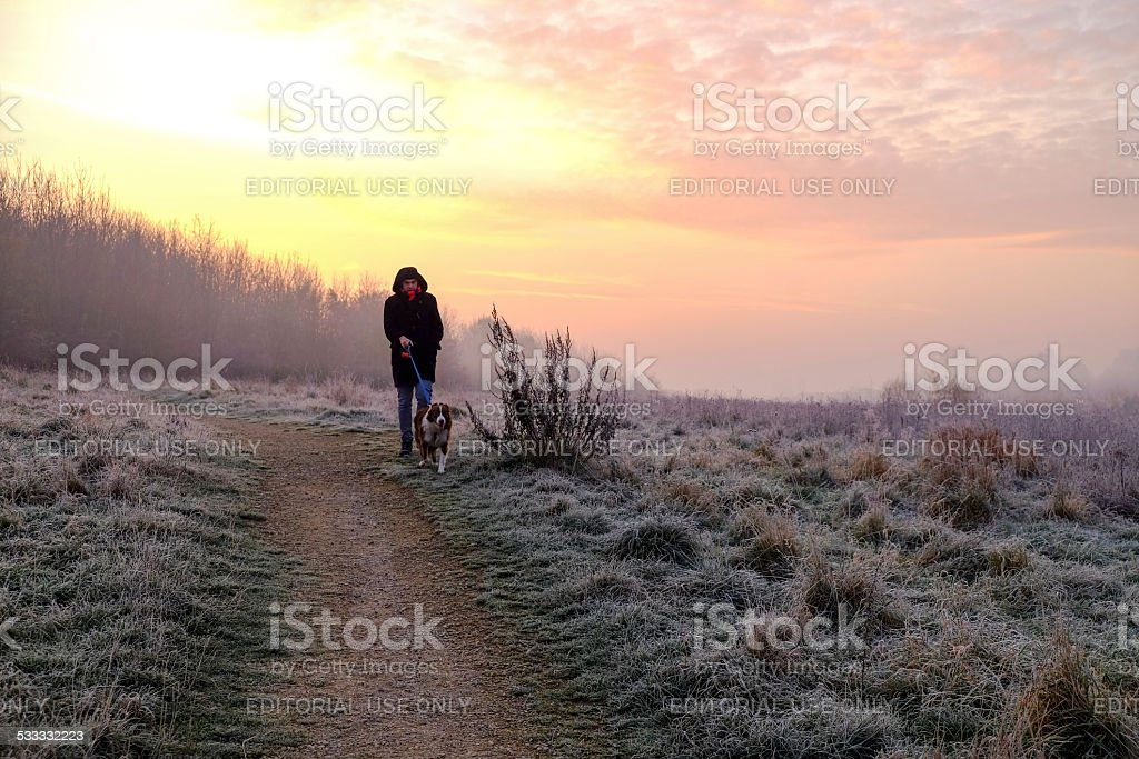 UK,Weather, Frosty Morning Sunrise.Hucknall. stock photo