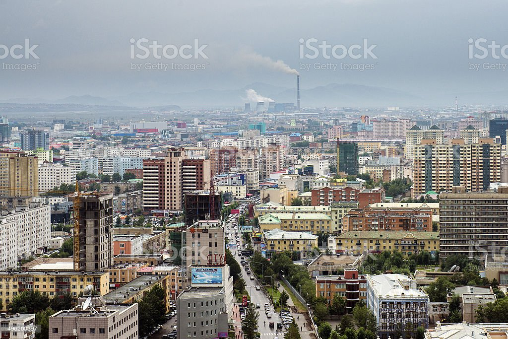 Ulaanbaatar City Aerial View stock photo