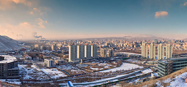 Ulaanbaatar Panoramic view of Ulaanbaatar at sunset on a cold winter day. Ulaanbaatar. Mongolia. independent mongolia stock pictures, royalty-free photos & images