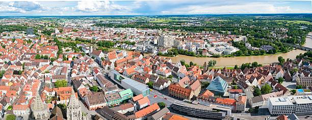 Ulm and Danube river bird view, Ulm, Germany - June 18, 2016: Ulm and Danube river bird view, Germany. Ulm is primarily known for having the tallest church in the world, and as the birth city of Albert Einstein. ulm stock pictures, royalty-free photos & images