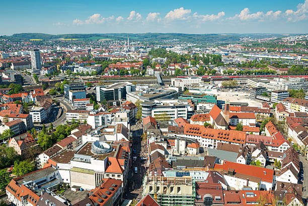 Ulm, Germany Ulm, Germany. View from the top of Ulm Minster, the world's tallest church (with height 161.5 metres (530 ft) ulm stock pictures, royalty-free photos & images
