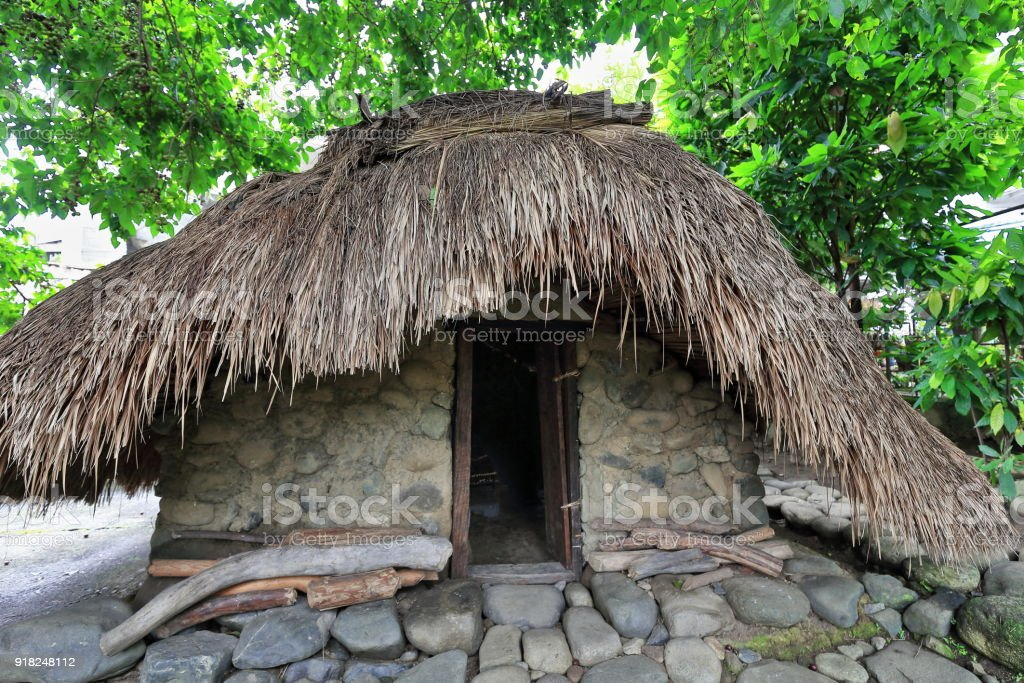 Ulog or olog-sleeping hut for young girls. Bontoc-Mountain region-Philippines. 0204 stock photo