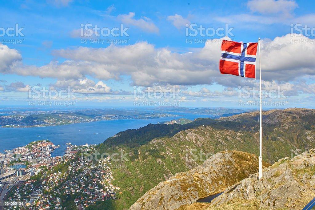Ulriken vistas-Bergen, Noruega - fotografia de stock