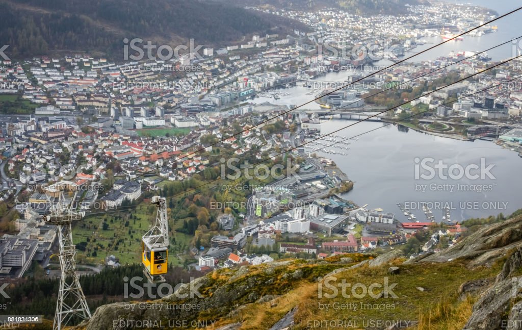 Ulriksbanen, the yellow cable car to the top of mount Ulriken stock photo