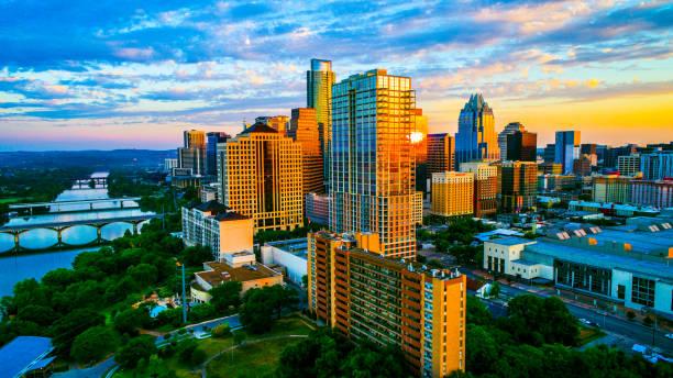 Ultimate sunrise in Austin Texas stock photo