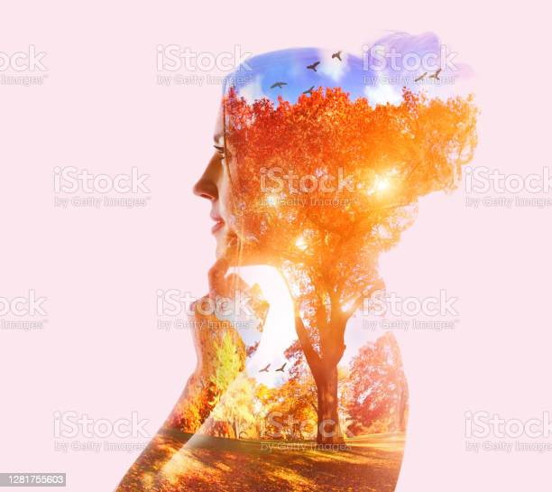 Photo of ultiple exposure of a young woman and public park