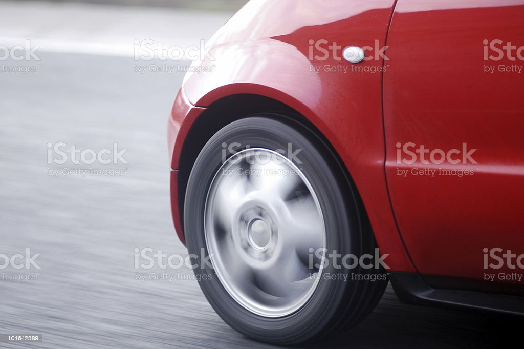Ultra compact car nose on European motorway stock photo