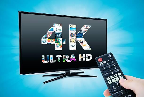 tv 4 k ultra hd. fernseher entschließung technologie - 4k led tv stock-fotos und bilder