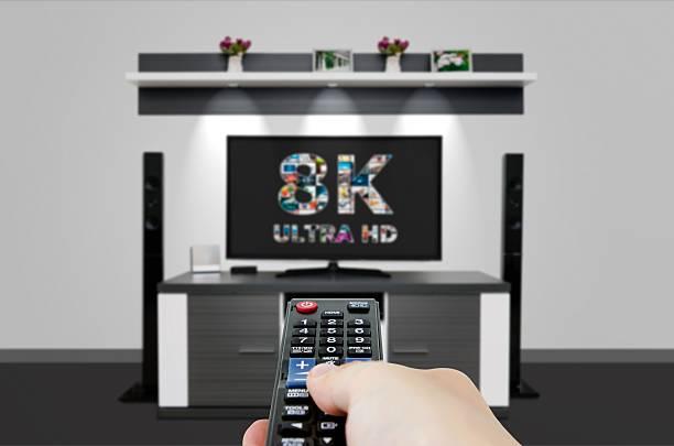 TV ultra HD. 8K television resolution technology. – Foto