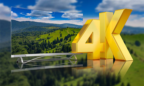 Ultra HD  mountains Ultra HD TV with a view of the mountains, 3D render. 4k resolution stock pictures, royalty-free photos & images