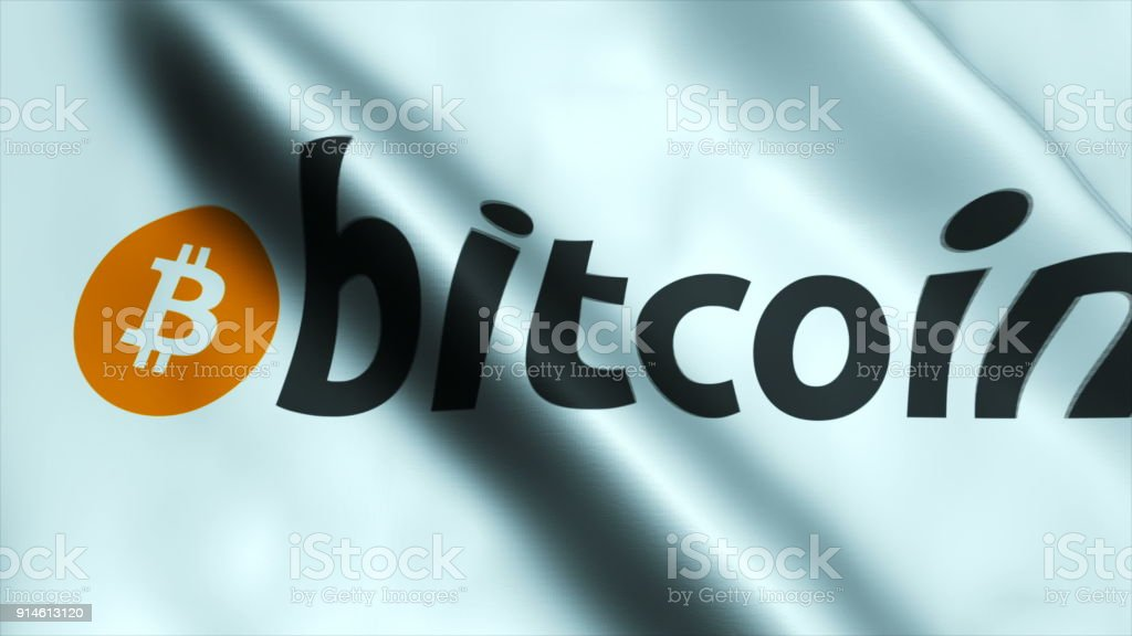 Ultra HD quality Waving flag with bitcoin stock photo