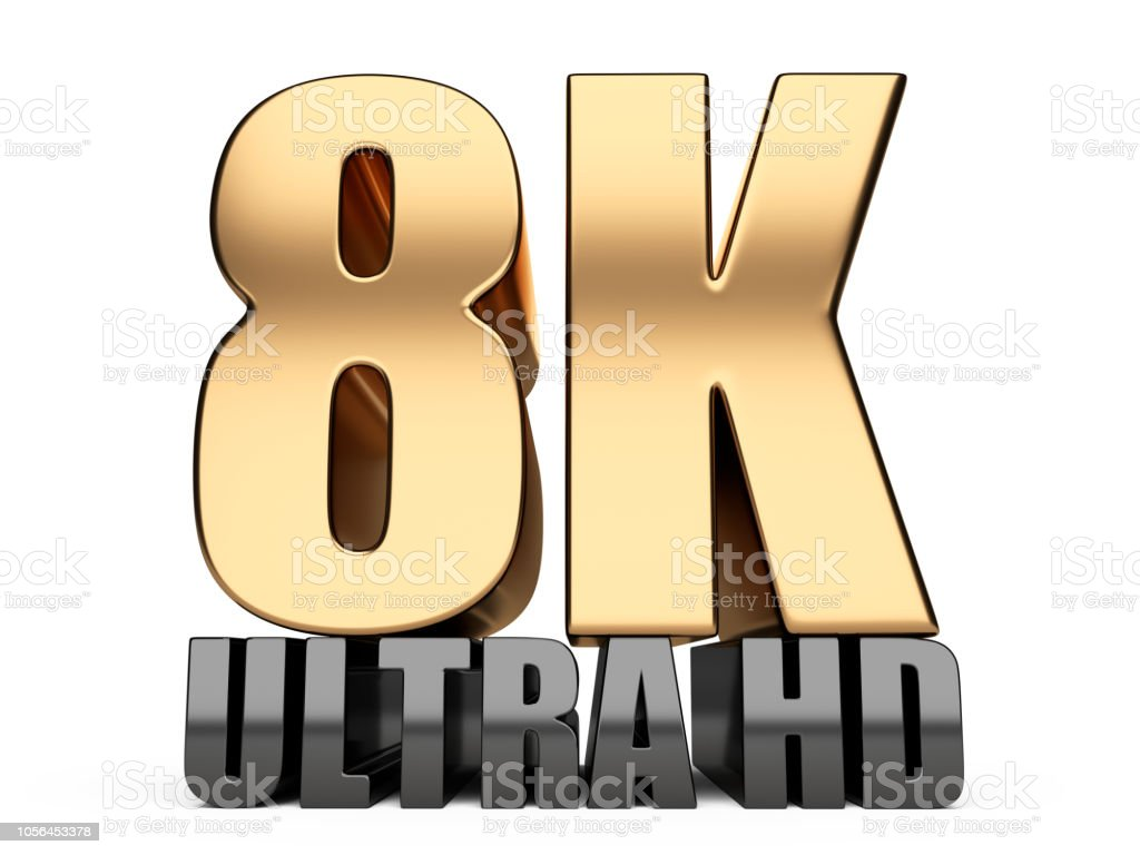 8K Ultra HD sign. Highest definition TV resolution. stock photo