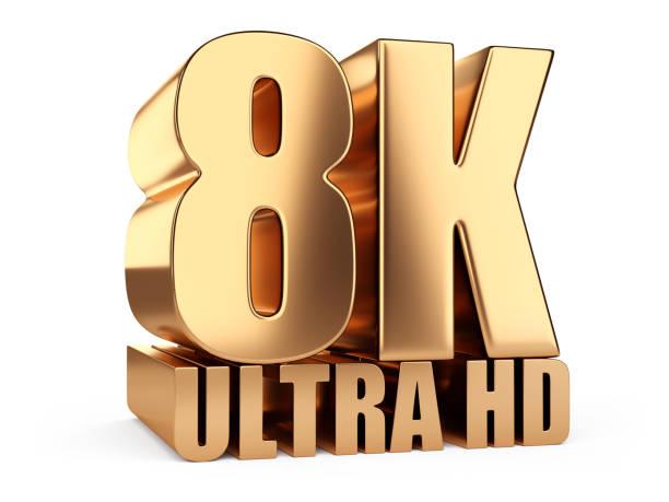 8 K Ultra HD Zeichen. Höchsten Definition TV-Auflösung. – Foto