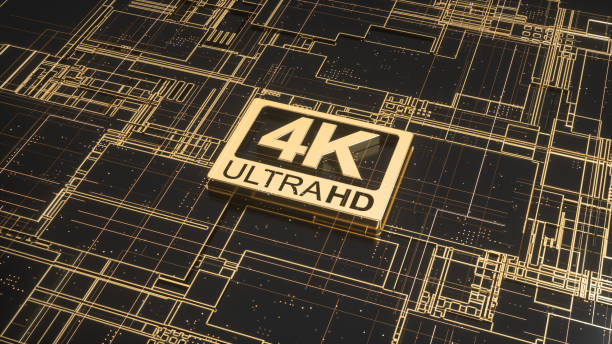 4K ultra hd symbol on abstract electronic circuit board. Television technology concept of ultra high definition sign on digital background with many lines and geometric elements. 3d rendering 4K sign 4k resolution stock pictures, royalty-free photos & images