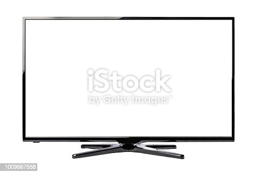 Ultra high definition LED Display Smart Tv isolated on white background