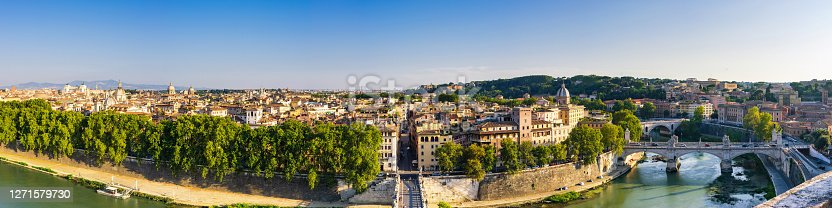 Ultra high definition panoramic image of Rome skyline from aerial point of view. Tiber river and Rome skyline, Italy.