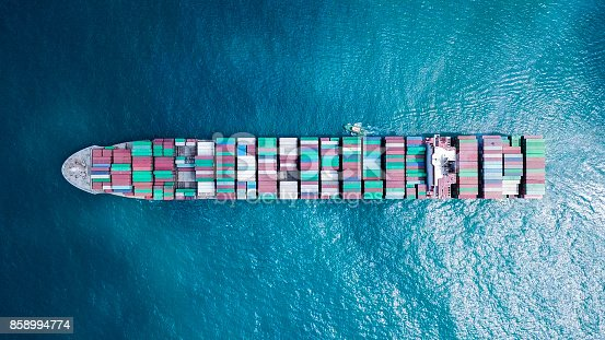 istock Ultra large container vessel (ULCV) at sea 858994774