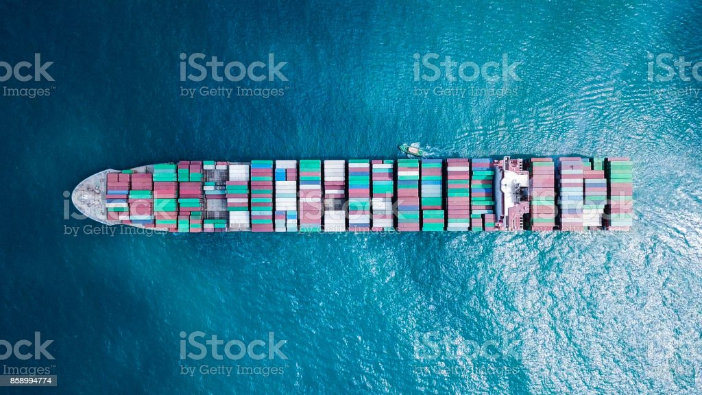 Ultra large container vessel (ULCV) at sea stock photo