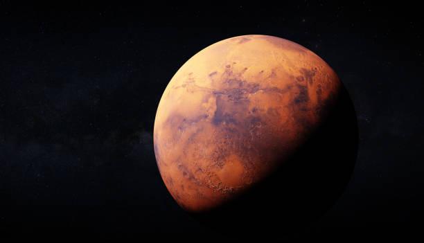 Ultra realisic renderizado 3D de Marte y Milky way en la parte trasera. La imagen utiliza grandes texturas de 46k para una apreance einformación detallada de la superficie del planeta. Elementos de esta imagen amueblada por la NASA. - foto de stock