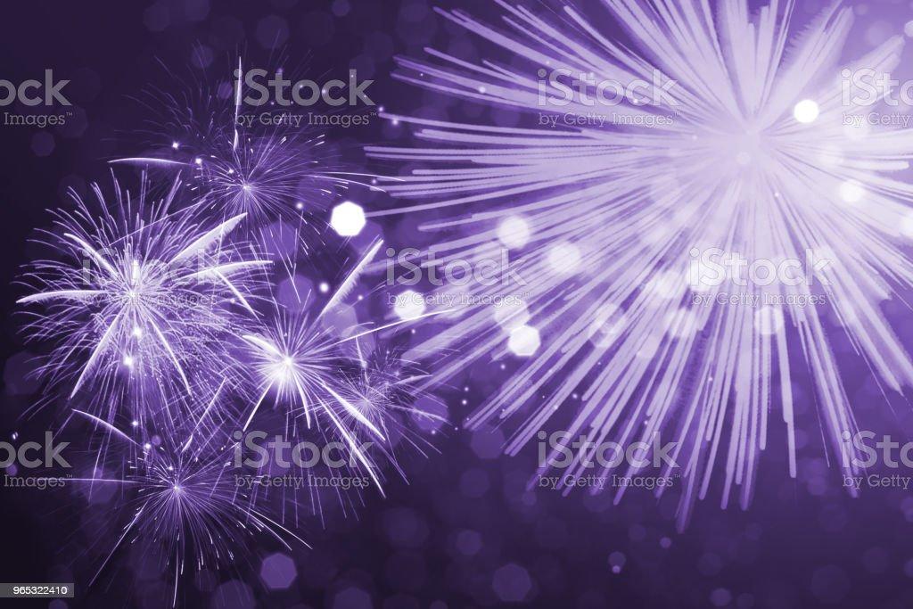 Ultra violet fireworks bokeh light royalty-free stock photo