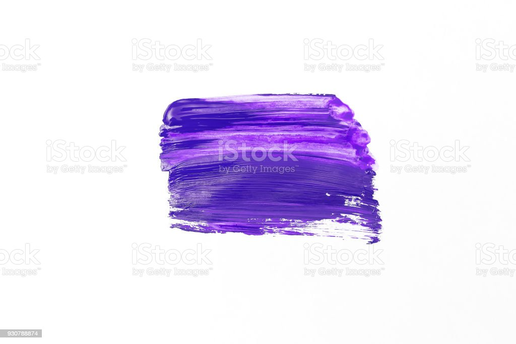 Ultra violet paint smear on white paper. Flat lay stock photo