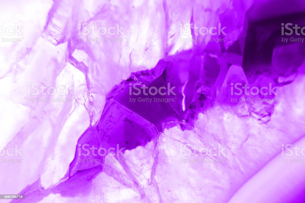 Ultra violet pruple agate mineral cross section isolated on white background. Abstract background stock photo