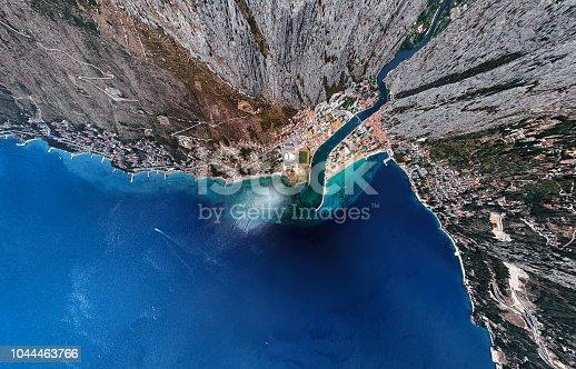 Omis resort aerial view, Dalmatian Coast, Croatia.