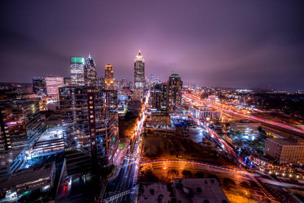 Ultra wide angle long exposure night in downtown Atlanta stock photo